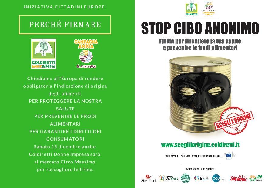 Stop al cibo anonimo firma per difendere la tua salute e prevenire le frodi alimentari