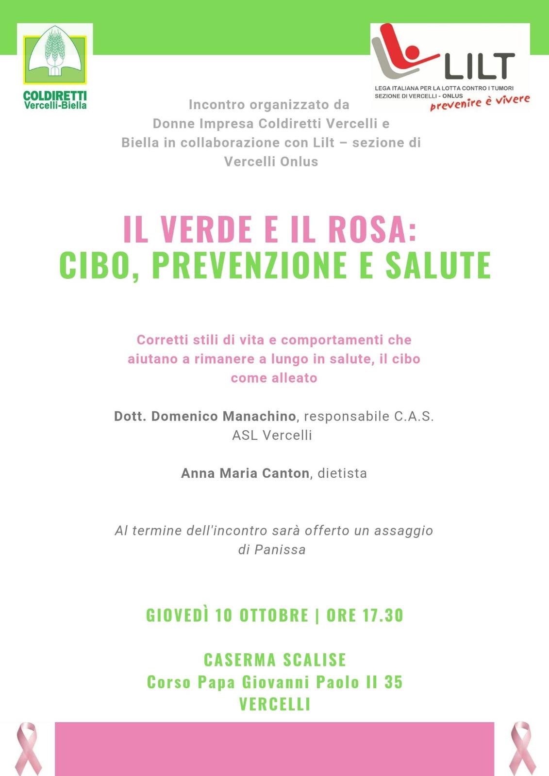 Il verde e il rosa: cibo prevenzione e salute